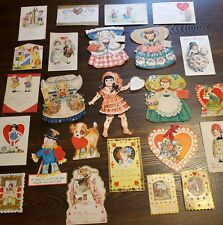 Lot 24 Vintage Valentines & Paper Dolls Ephemera Crafts Scrapbooking Post Cards