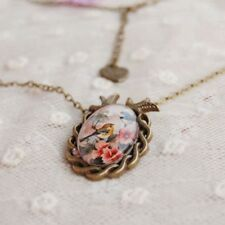 Cameo Unique Bronze Oval Vintage Glass Cabochon Pendant Necklace Flower Bird