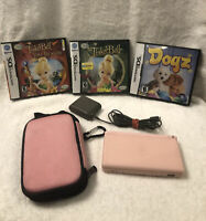Pink Nintendo DS Lite Bundle - Console, Charger, Case & 3 Games -Dogz Tinkerbell