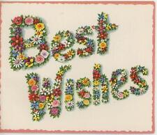 VINTAGE GARDEN FLOWERS ALPHABET LETTERS BEST WISHES BIBLICAL VERSE CARD PRINT