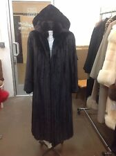 "NATURAL RANCH FEMALE MINK 47"" LONG COAT DETACHABLE HOOD HOODED 70"" Swing SIZE M"