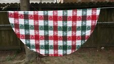 """Red White Green Christmas Tree Plaid 54"""" Round Tablecloth Free Shipping"""