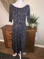 Boden Ladies Size 10 L Navy Multi Colour Dress Smart  Summer amazing Colour