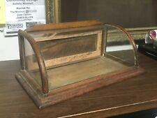 Antique Vintage Oak Curved Glass Display Case