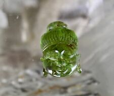 14 CTS GREEN TOURMALINE CARVED BUDDHA HEAD GEMSTONE FOR RING PENDANT DESIGNING