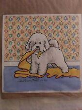 More details for charming toy dog,bichon ,original watercolour  painting 1990 ann(ragtail)curran