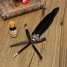 Vintage Black Swan Feather Quill Metal Nib Dip Pen Writing Ink New Year Birthday