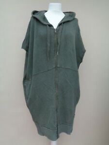 FREE PEOPLE OVERSIZED DISTRESSED SLEEVELESS LONG HOODIE GREEN/GREY