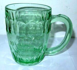 Vintage Green Depression Glass Beer Tankard 1937 King George VI &Queen Elizabeth