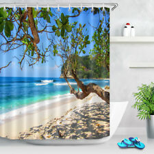 Tropical Tree White Sand Beach Blue Sea Fabric Shower Curtain Set  Hooks 60x72""