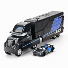 2Pcs Diecast Disney Pixar Car Black Storm Jackson Hauler & Racer Car Kid Toy Set