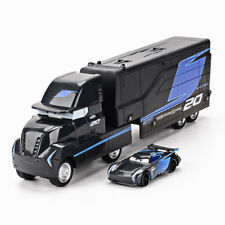 2Pcs Disney Pixar Cars 3 BLACK JACKSON STORM Hauler Truck + Racer Car Model Toys