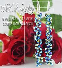 925 Silver Long Earrings Crystals From Swarovski® XILION BICONE Jet 2 x AB
