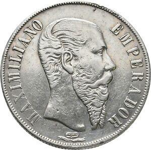LANZ MEXIKO 1 PESOS 1866 MEXIKO STADT MAXIMILIAN I. (1832-1867) °TEZ655