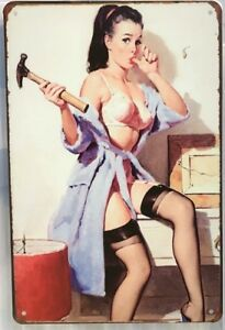 SEXY LADY Rustic Look Vintage Tin Metal Sign Man Cave, Shed-Garage & Bar Sign