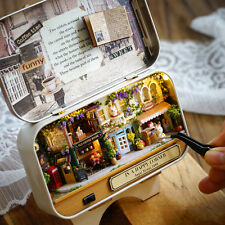 DIY Handcraft Miniature Project Kit Dolls Old High Street Shops Tin Box Theatre