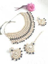 New Indian Bollywood Costume Jewellery Choker Set  Pearl Gold Black Silver Stone