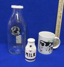 Cow Glass Milk Bottle Ceramic Cup Mug & Salt Shaker Black White Cow Lot of 3