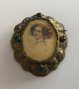 Brooch Antique Brass and Stones Blue Cartoon Beautiful Young Woman REF64793