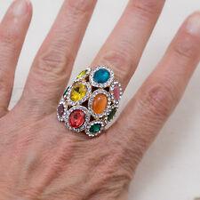 Anello fascione alto con cristalli effetto pietre preziose e zirconi misura 15