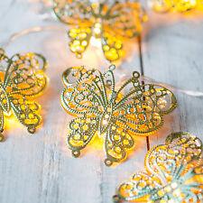 10er LED Lichterkette Schmetterling Lichter Batterie Party Dekobeleuchtung Gold