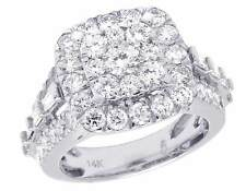Ladies 14k White Gold Real Diamond Square 3d Cluster Engagement Ring 3 Ct 15mm