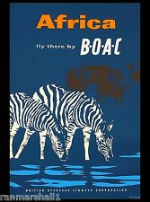 Africa African Zebra Cape Buffalo Air Vintage Travel Advertisement Art Poster