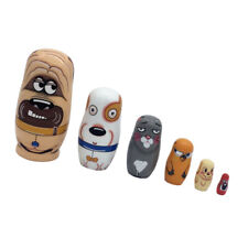 6 Nesting Dolls Russian Doll Matryoshka Set Kids Wooden Toy Dog Animals