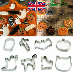 8pcs Halloween Shapes Metal Cookie Cutters Ghost Bat Pumpkin Cat Biscuit Cutters