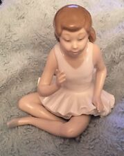 Nao By Lladro Figurine Ballerina Ballet Girl Sitting Cross Legged.        (B302)