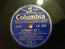 "ELISABETH SCHWARZKOPF (Soprano) ""La Traviata"" Act 1 - 78rpm 12"" LX1079  NMINT+"