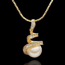 18k 18ct Yellow Gold GP Pearl Pendant Crystals Woman Necklace N-A336