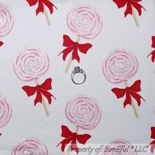 BonEful Fabric FQ Cotton White Pink Red Girl Birthday Lollipop Candy Glitter Bow