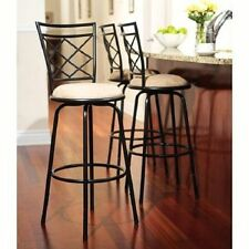 Swivel Metal Stools 3 Set Adjustable Bar Height Black Kitchen Counter Stool NEW