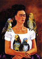Frida Kahlo - Me and my Parrots - A3 29.7x42cm QUALITY Art Canvas Print Unframed