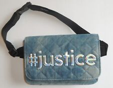 Justice Girls Fanny Pack Belt Bag #Justice Blue Denim Quilted New
