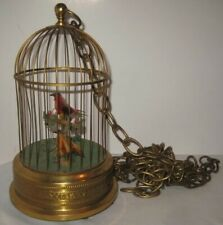 Old Western Germany Wind Up Brass Metal Birdcage Automaton w/ 2 Feathered Birds
