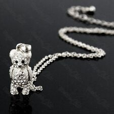 CUTE moving limbs CRYSTAL TEDDY BEAR pendant NECKLACE&CHAIN silver rhinestone