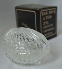 Elegant Trinket Dish with Lid Candy Jewelry Clear Cut Crystal Egg Box #P
