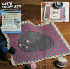 Crochet Pattern Only ~ Cats Meow Set ~ Rug Toy Place Mat ~ Kitten Kitty