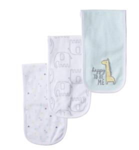 Gerber Baby Boy or Girl 3 Pack Terry Burp Cloth Giraffe Elephant Happy  NIP