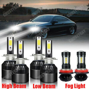 For Mercedes-Benz E350 E320 E550 6000K Combo LED Headlight+Fog Light Bulbs Kit