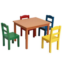 Kids Wood Table & 4 Multi-color Chairs Set Kid's Furniture Home Furniture