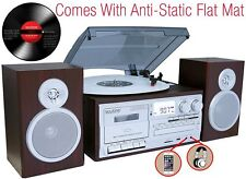 Boytone BT-28SPS Bluetooth Classic Turntable Stereo System CD Cassette SD Slver