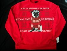 Pugly Christmas Sweater Dog Mens Graphic Sweatshirt 2XL NWT