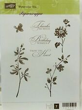 Stampin Up WATERCOLOR TRIO stamps flowers thanks birthday from heart ONLY 1 USED