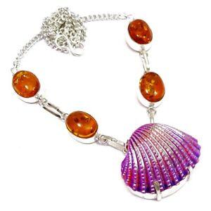 Titanium Sea Shell Amber Quartz Gemstone Mermaid Necklace 18'' To 24'' Y937