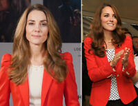 ZARA ASO. RED BLAZER PUFF SHOULDER PADS RARE ROYAL KATE SOLD OUT SIZE XS