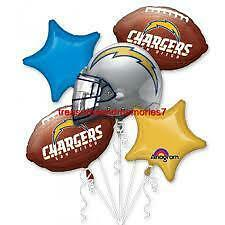 Anagram SAN DIEGO CHARGERS BALLOON BOUQUET 5 Balloons Football Blue Yellow Bolts