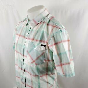O'Neill Mens Button Front Shirt Sz Medium S/S Blue Red Plaid Check Cotton A12-01